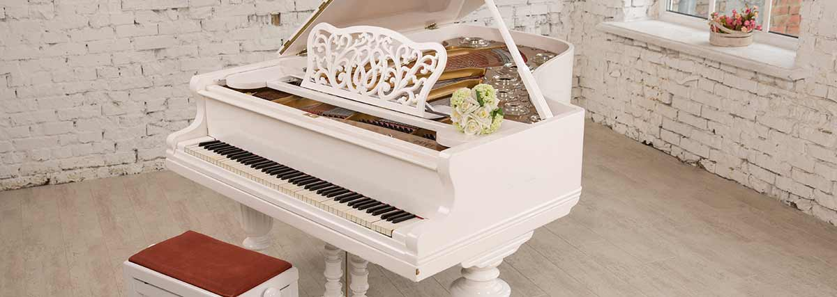 white piano at home